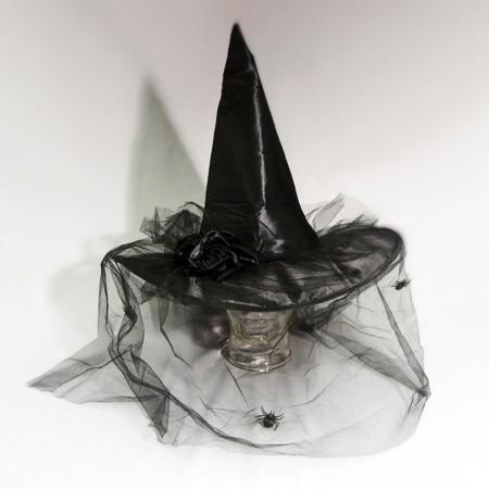 Hexenhut elegant mit Tüllschleier - schwarz