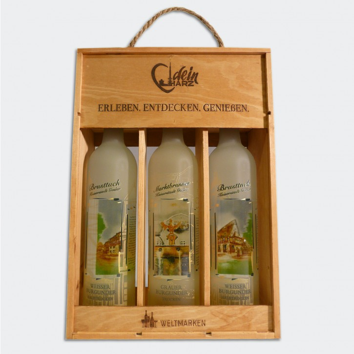 Wein - Holzkiste mit 3 Flaschen