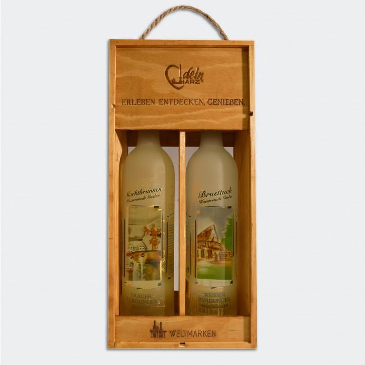Wein - Holzkiste mit 2 Flaschen