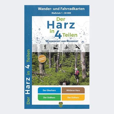 Wanderkartenset Der Harz in 4 Teilen - wetterfest
