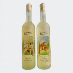 Wein - Fensterbildflasche mit zwei Motiven
