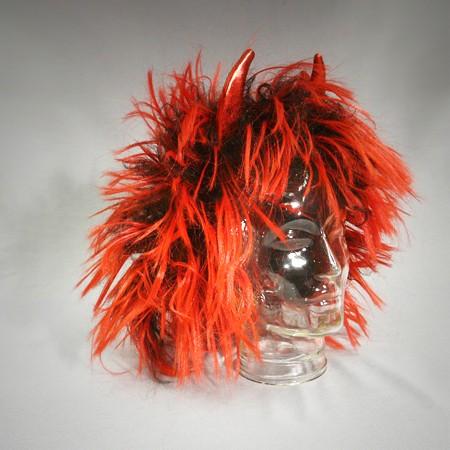 Perücke kurz - rotes Haar mit Hörnern