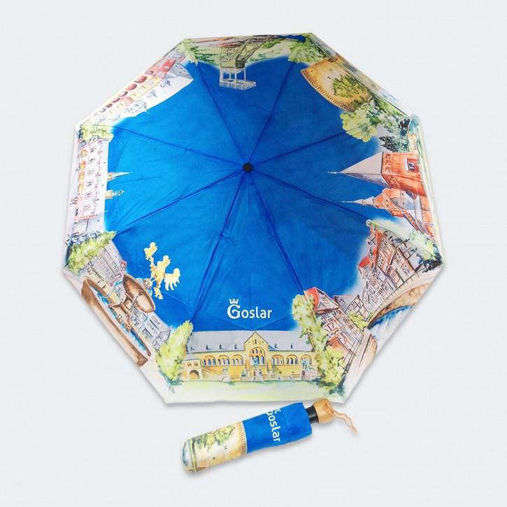 Aquarellschirm mit Goslar-Motiven (Taschenschirm)
